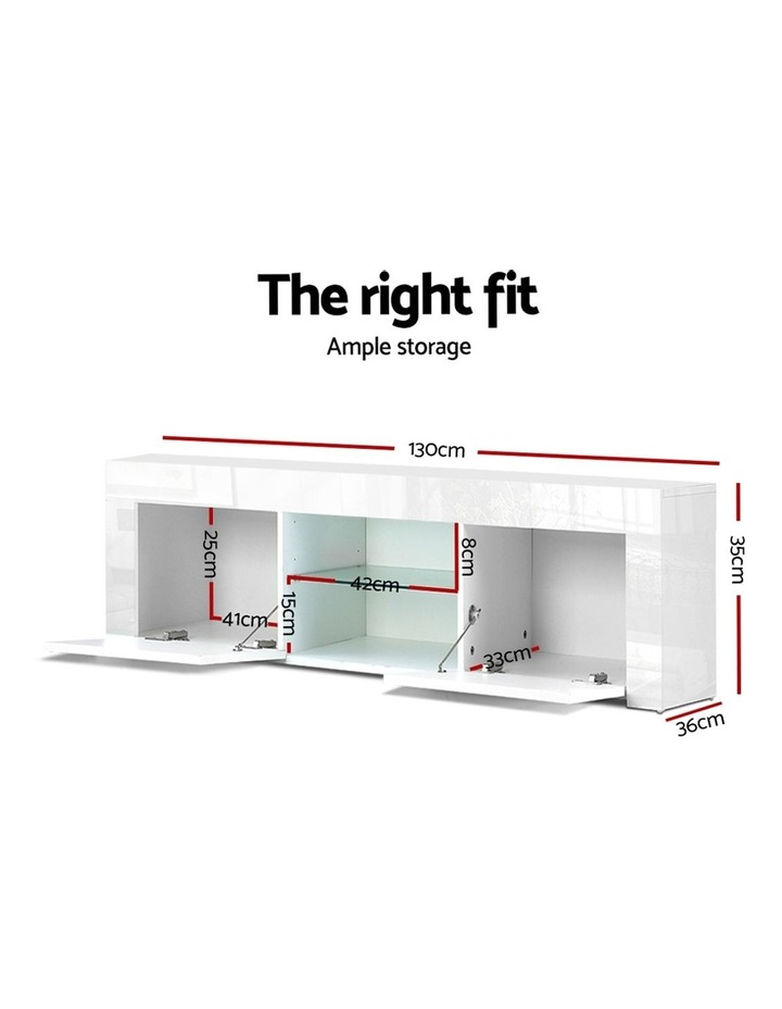 130cm High Gloss TV Stand Entertainment Unit Storage Cabinet Tempered Glass Shelf White image 2