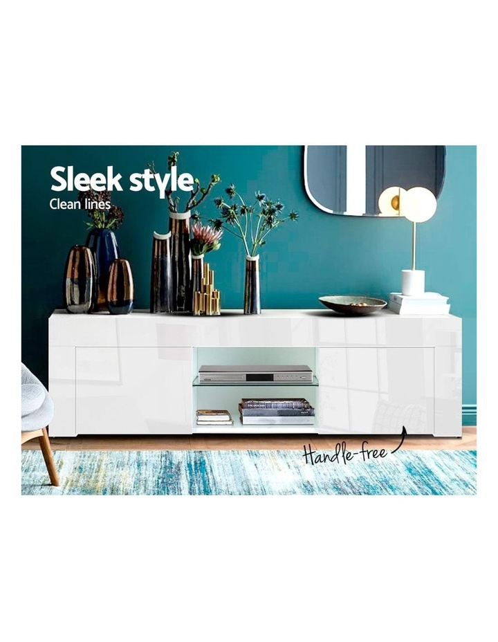 130cm High Gloss TV Stand Entertainment Unit Storage Cabinet Tempered Glass Shelf White image 3