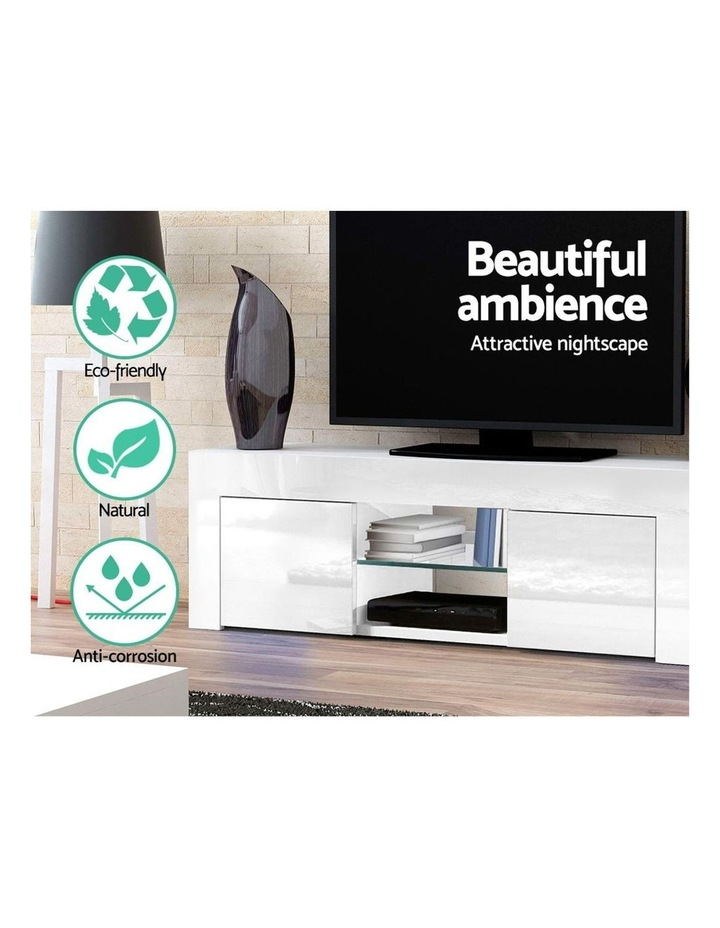 130cm High Gloss TV Stand Entertainment Unit Storage Cabinet Tempered Glass Shelf White image 4