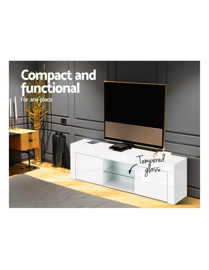 130cm High Gloss TV Stand Entertainment Unit Storage Cabinet Tempered Glass Shelf White image 5