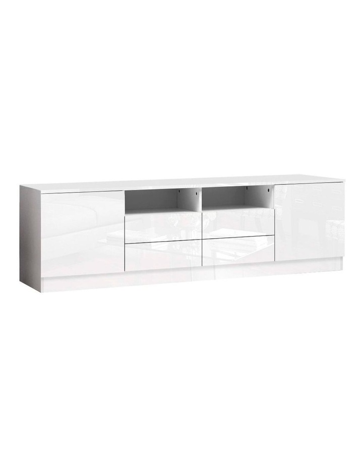 180cm TV Cabinet Stand Entertainment Unit High Gloss Furniture 4 Storage Drawers White image 1