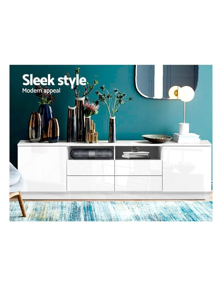 180cm TV Cabinet Stand Entertainment Unit High Gloss Furniture 4 Storage Drawers White image 3