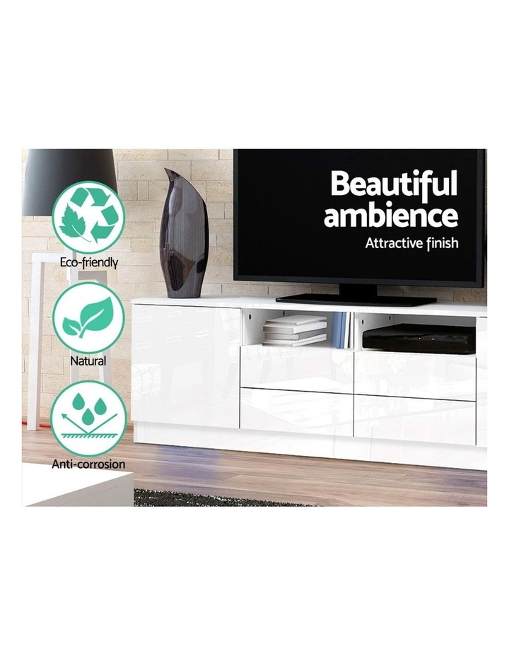 180cm TV Cabinet Stand Entertainment Unit High Gloss Furniture 4 Storage Drawers White image 4