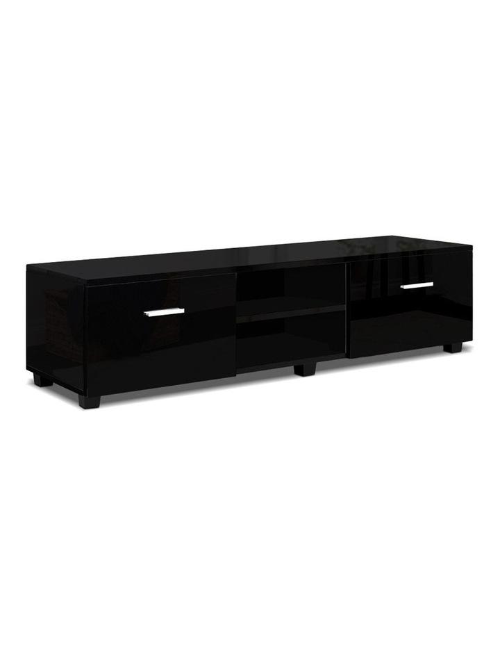 140cm High Gloss TV Cabinet Stand Entertainment Unit Storage Shelf Black image 1