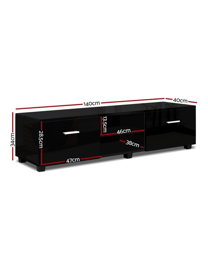 140cm High Gloss TV Cabinet Stand Entertainment Unit Storage Shelf Black image 2