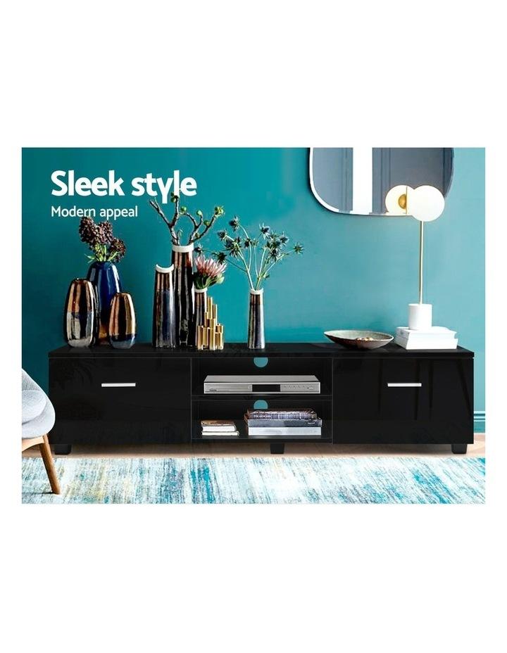 140cm High Gloss TV Cabinet Stand Entertainment Unit Storage Shelf Black image 3