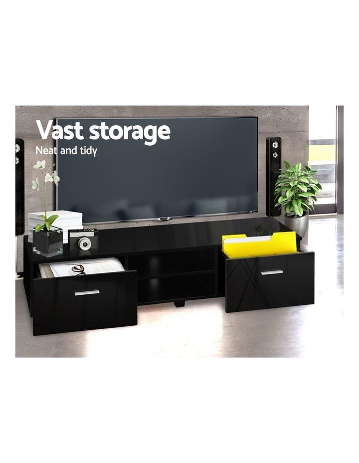140cm High Gloss TV Cabinet Stand Entertainment Unit Storage Shelf Black image 4