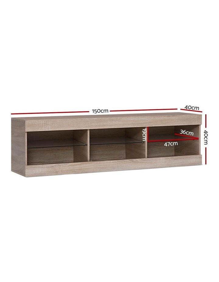 TV Cabinet Entertainment Unit Stand RGB LED Glass Shelf Storage 150cm Oak image 2
