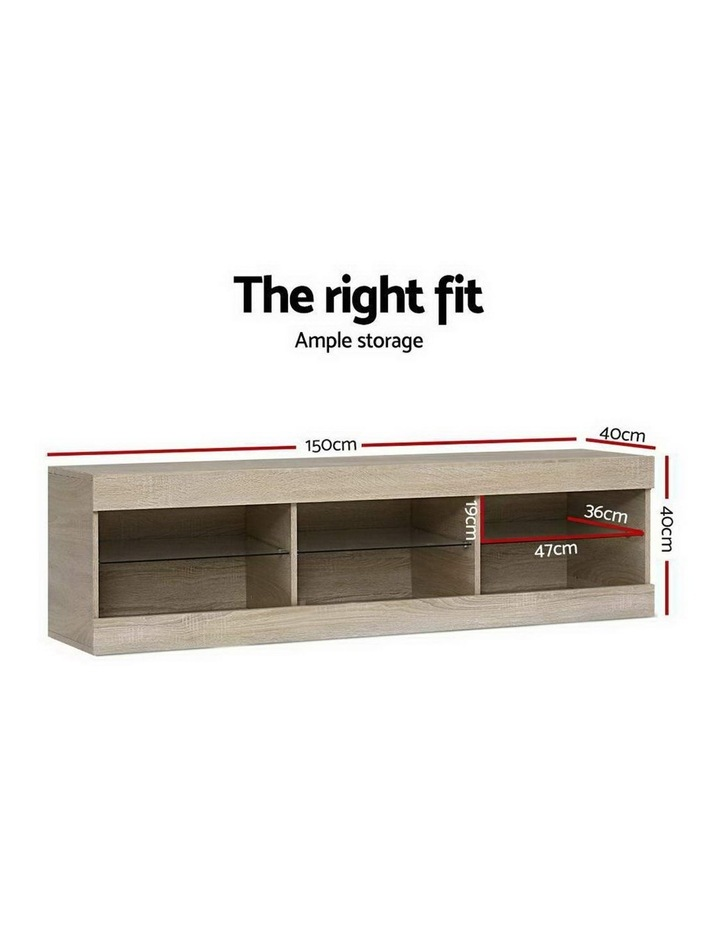 TV Cabinet Entertainment Unit Stand RGB LED Glass Shelf Storage 150cm Oak image 3