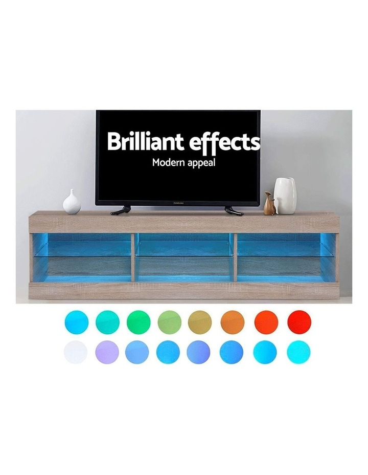 TV Cabinet Entertainment Unit Stand RGB LED Glass Shelf Storage 150cm Oak image 4