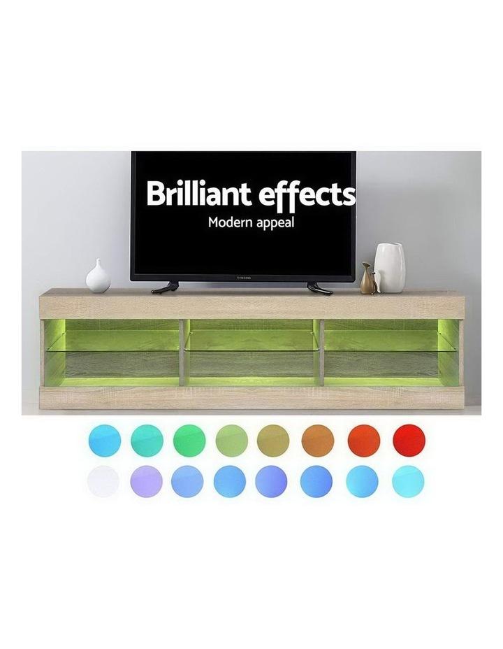 TV Cabinet Entertainment Unit Stand RGB LED Glass Shelf Storage 150cm Oak image 5