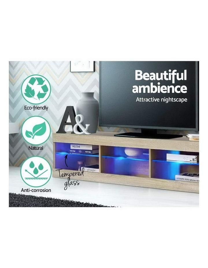 TV Cabinet Entertainment Unit Stand RGB LED Glass Shelf Storage 150cm Oak image 6