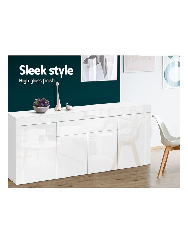Buffet Sideboard Cabinet High Gloss Storage 4 Doors Cupboard Hall White image 4