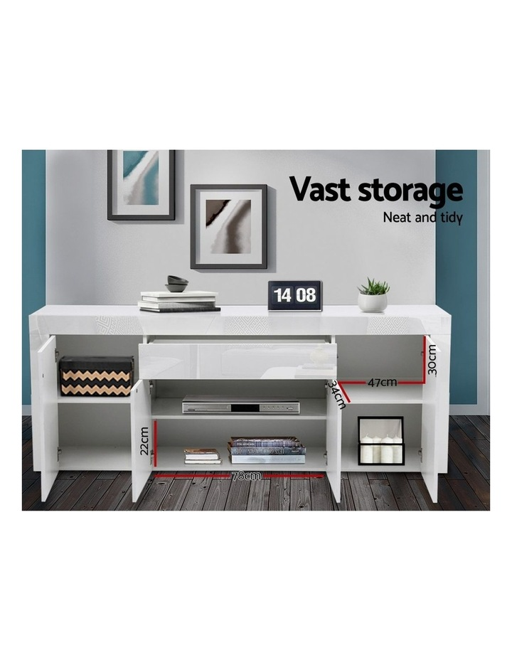 Buffet Sideboard Cabinet High Gloss Storage 4 Doors Cupboard Hall White image 5