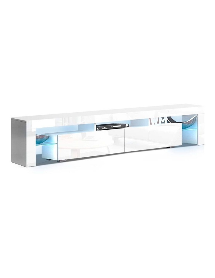 TV Cabinet Entertainment Unit Stand RGB LED Gloss Furniture 2 Drawers 200cm White image 1
