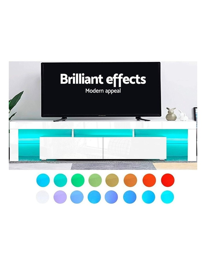 TV Cabinet Entertainment Unit Stand RGB LED Gloss Furniture 2 Drawers 200cm White image 3