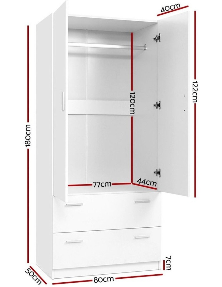 2 Doors Wardrobe Bedroom Closet Storage Cabinet Organiser Armoire 180cm image 2