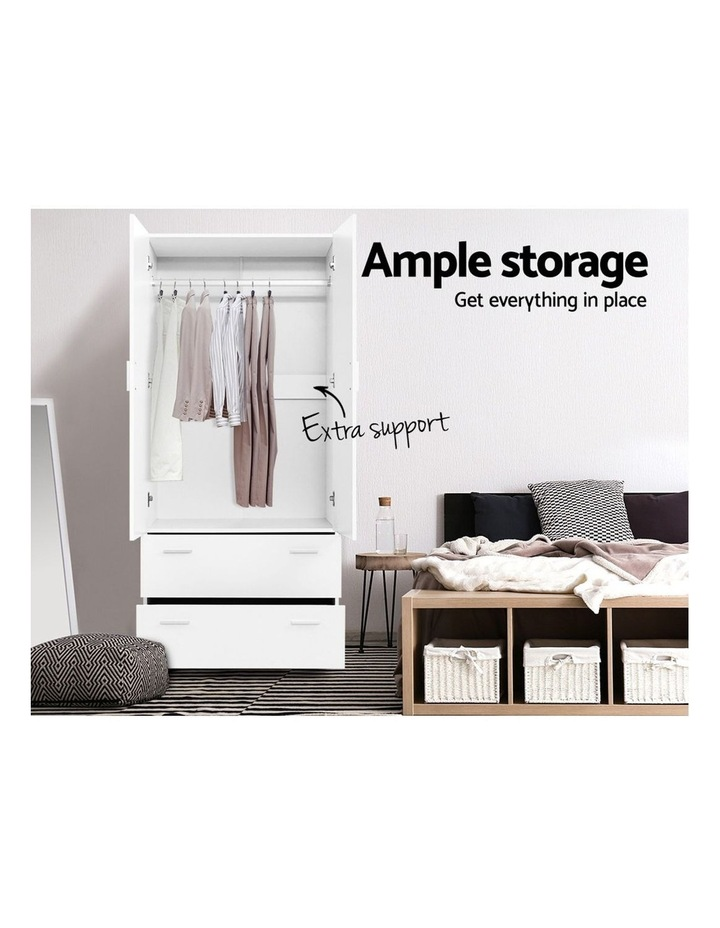 2 Doors Wardrobe Bedroom Closet Storage Cabinet Organiser Armoire 180cm image 4