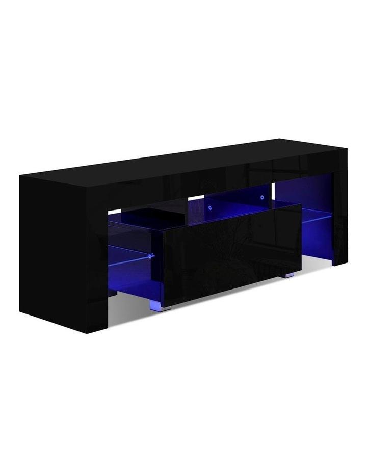 TV Cabinet Entertainment Unit Stand RGB LED Gloss Furniture 130cm Black image 1