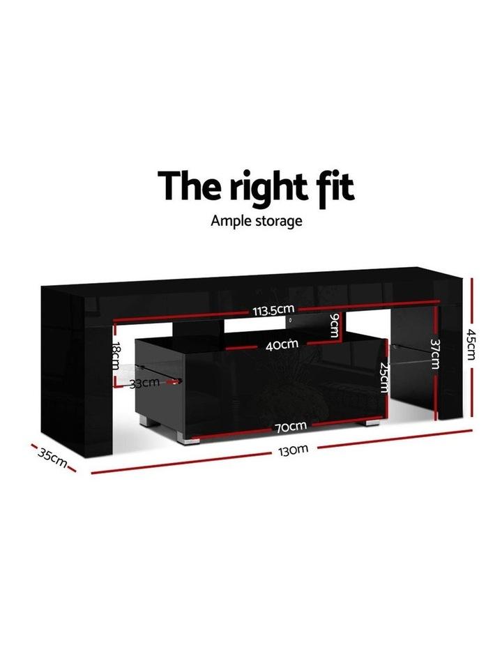TV Cabinet Entertainment Unit Stand RGB LED Gloss Furniture 130cm Black image 2
