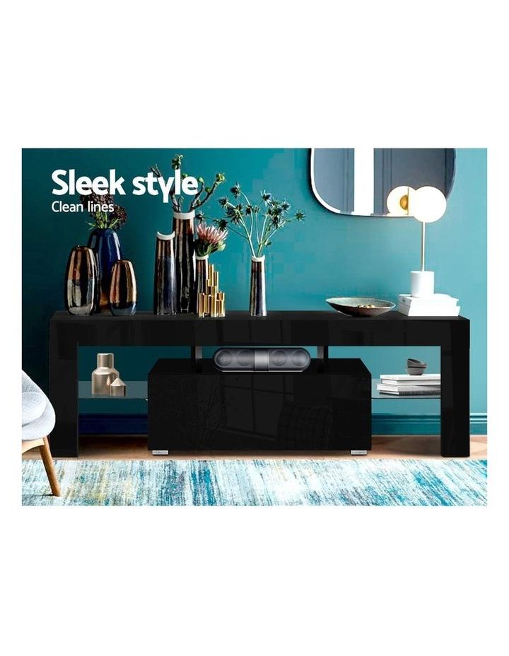 TV Cabinet Entertainment Unit Stand RGB LED Gloss Furniture 130cm Black image 3