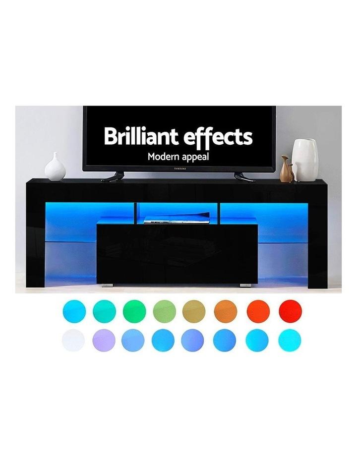 TV Cabinet Entertainment Unit Stand RGB LED Gloss Furniture 130cm Black image 4