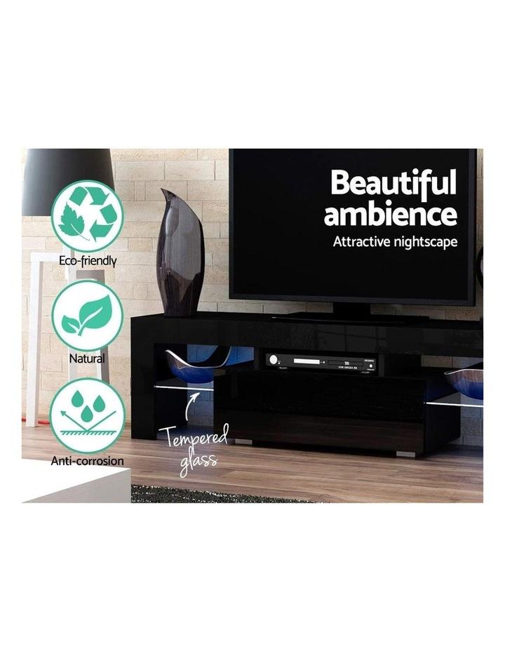 TV Cabinet Entertainment Unit Stand RGB LED Gloss Furniture 130cm Black image 5