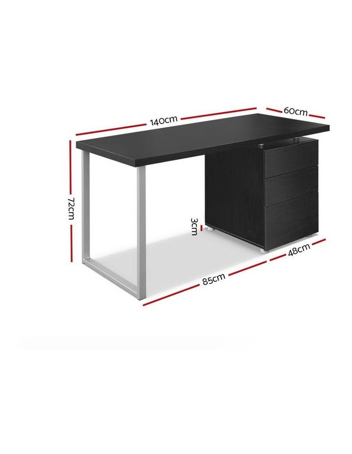 Metal Desk with 3 Drawers - Black image 2