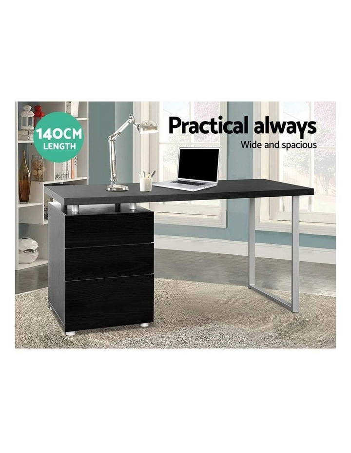 Metal Desk with 3 Drawers - Black image 4