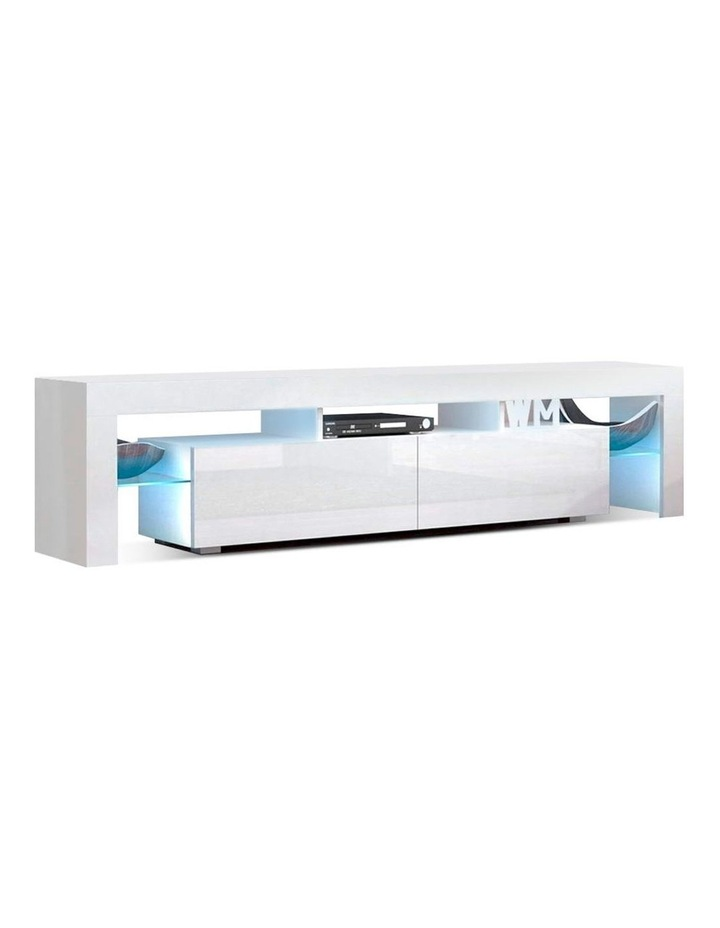 189cm RGB LED TV Stand Cabinet Entertainment Unit Gloss Furniture Drawers Tempered Glass Shelf White image 1