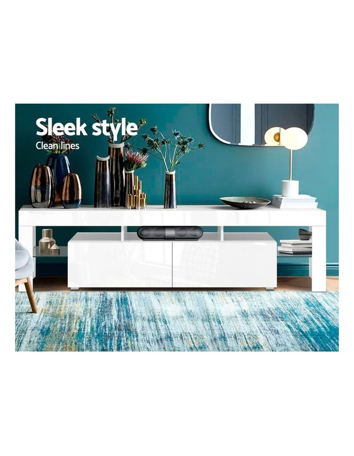 189cm RGB LED TV Stand Cabinet Entertainment Unit Gloss Furniture Drawers Tempered Glass Shelf White image 3