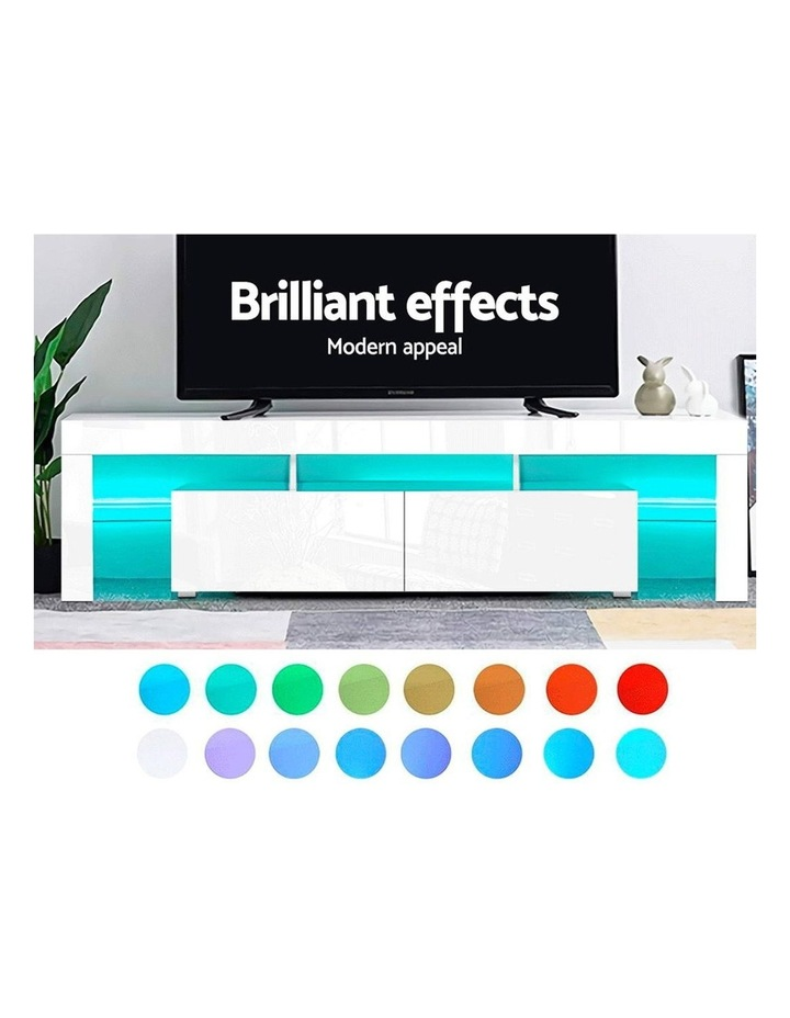 189cm RGB LED TV Stand Cabinet Entertainment Unit Gloss Furniture Drawers Tempered Glass Shelf White image 4