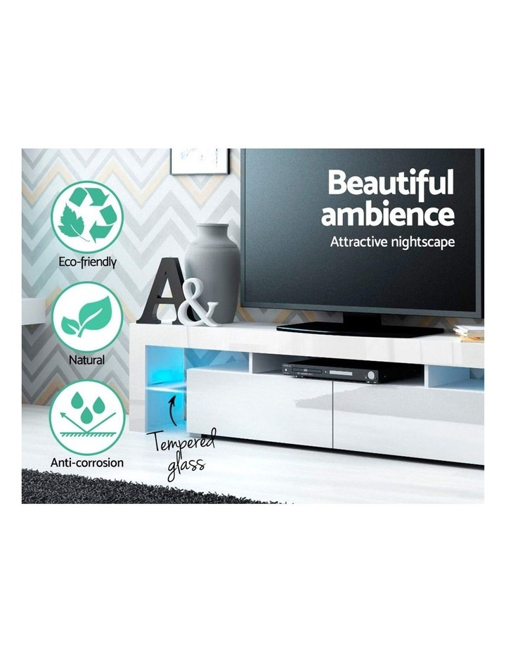 189cm RGB LED TV Stand Cabinet Entertainment Unit Gloss Furniture Drawers Tempered Glass Shelf White image 5