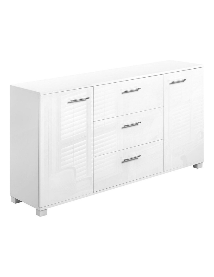 High Gloss Sideboard Storage Cabinet Cupboard - White image 1
