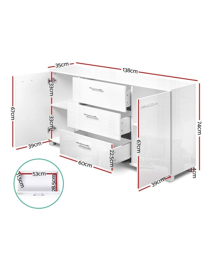 High Gloss Sideboard Storage Cabinet Cupboard - White image 2