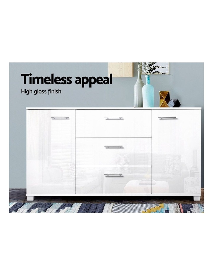 High Gloss Sideboard Storage Cabinet Cupboard - White image 3