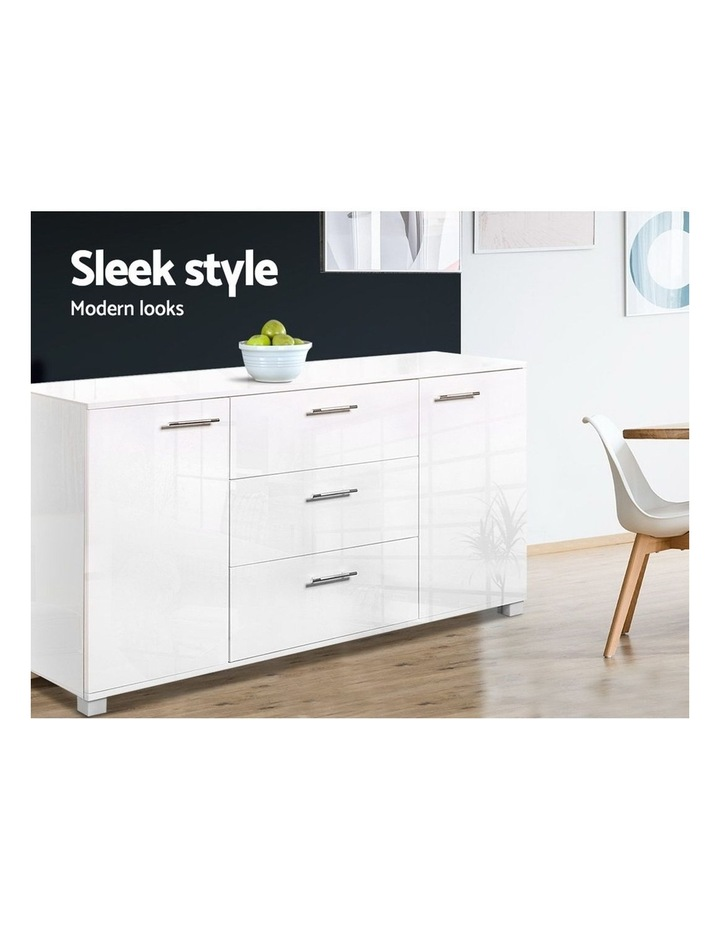High Gloss Sideboard Storage Cabinet Cupboard - White image 4