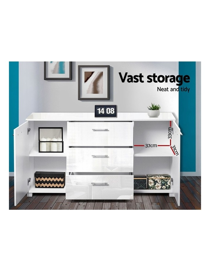 High Gloss Sideboard Storage Cabinet Cupboard - White image 5
