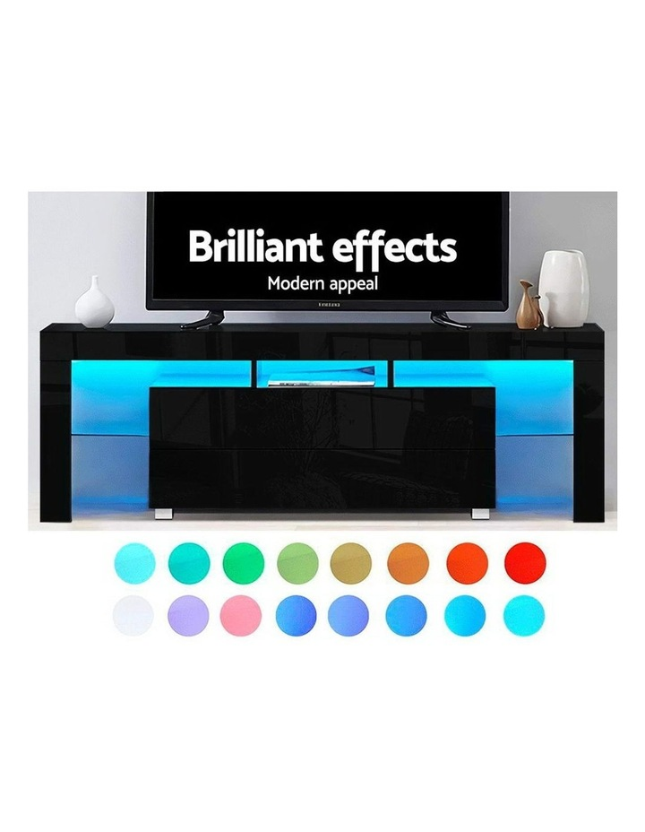 TV Cabinet Entertainment Unit Stand RGB LED Gloss Furniture 160cm Black image 3