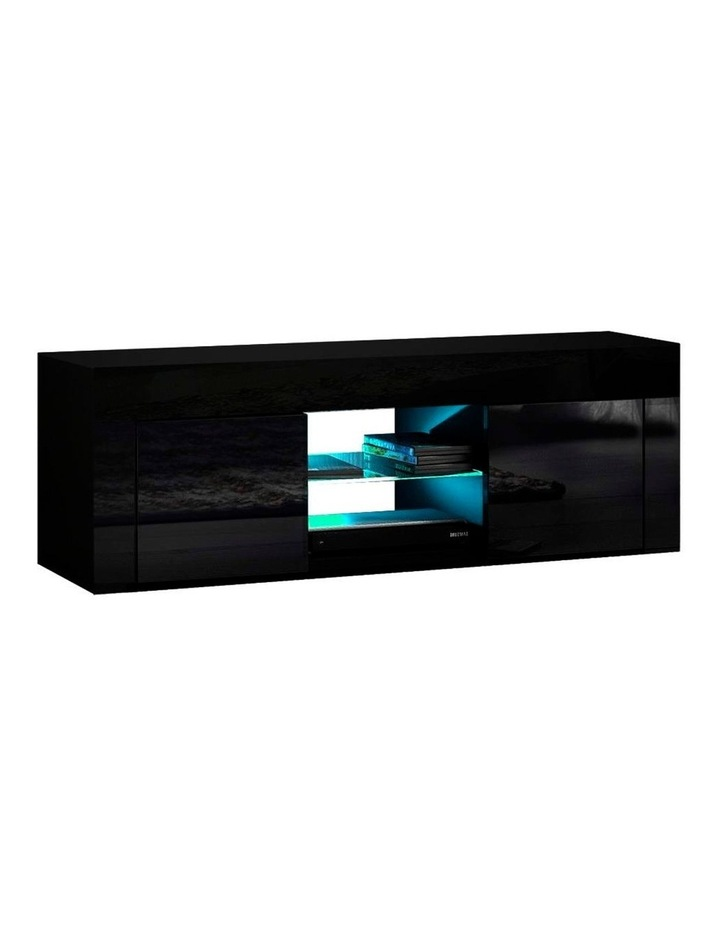 130cm RGB LED TV Stand Cabinet Entertainment Unit Gloss Furniture Black image 1