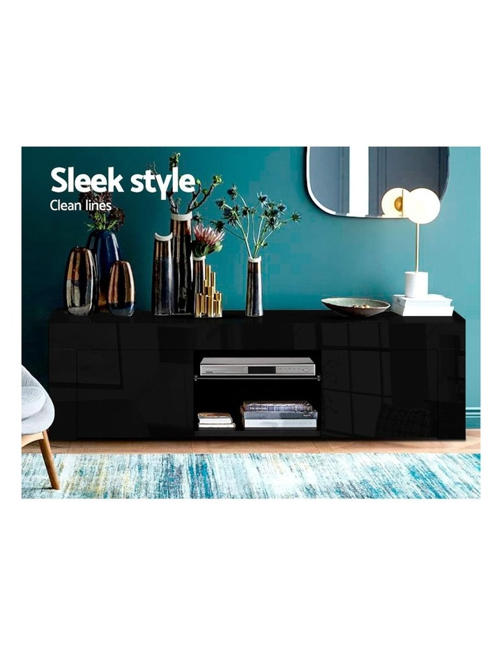 130cm RGB LED TV Stand Cabinet Entertainment Unit Gloss Furniture Black image 3