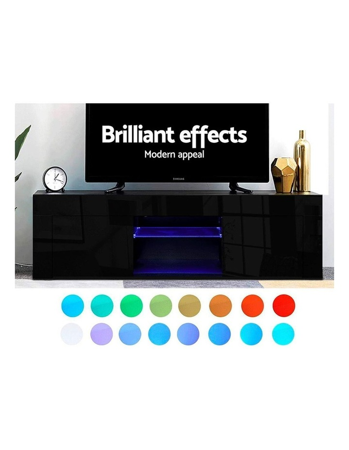 130cm RGB LED TV Stand Cabinet Entertainment Unit Gloss Furniture Black image 4