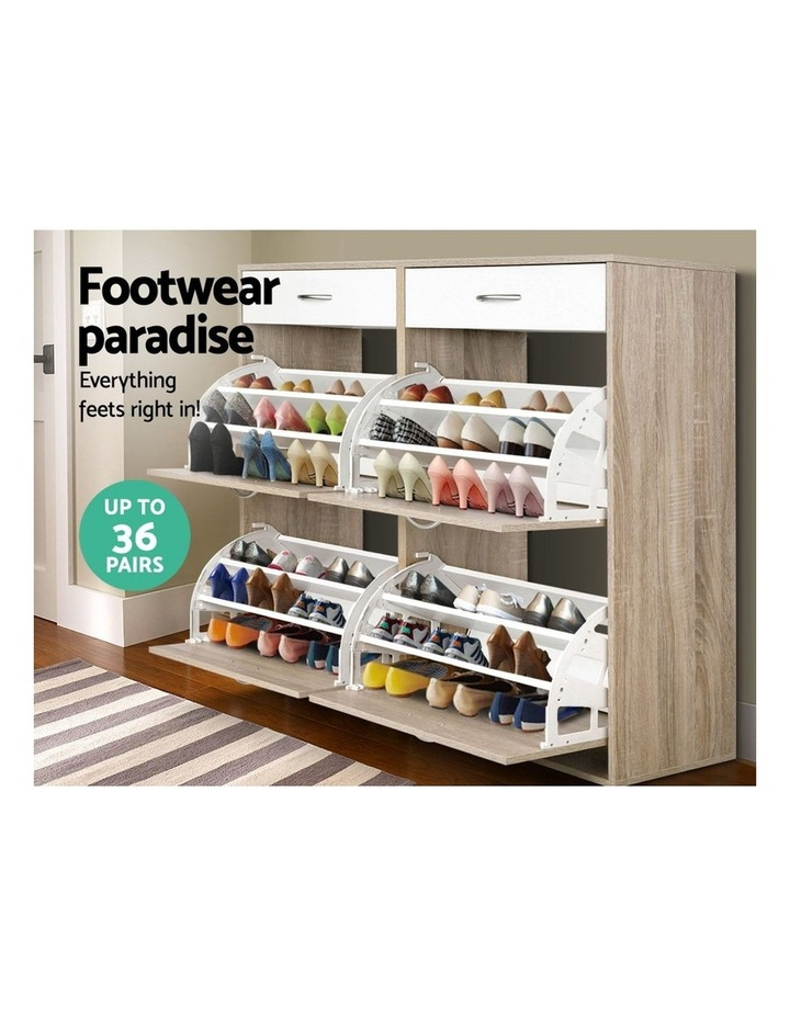 Shoe Cabinet Shoes Storage Rack Organiser Wooden Shelf Drawer 36 Pairs image 4