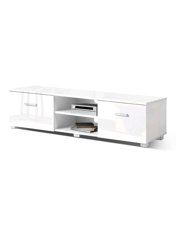 TV Cabinet Entertainment Unit Stand High Gloss Furniture Storage Drawers 140cm White image 1