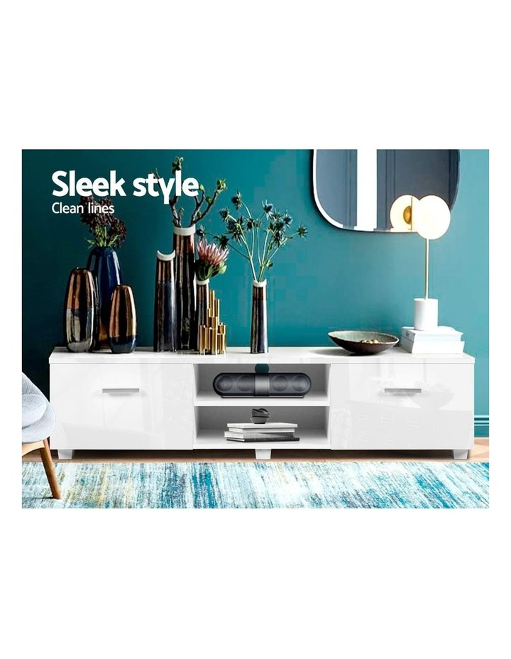 TV Cabinet Entertainment Unit Stand High Gloss Furniture Storage Drawers 140cm White image 3