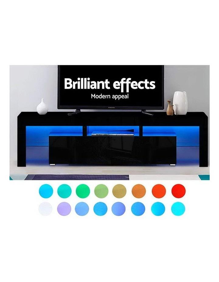 189cm RGB LED TV Stand Cabinet Entertainment Unit Gloss Furniture Drawers Tempered Glass Shelf Black image 3