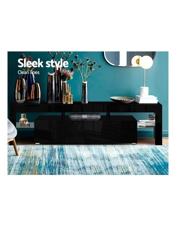 189cm RGB LED TV Stand Cabinet Entertainment Unit Gloss Furniture Drawers Tempered Glass Shelf Black image 4