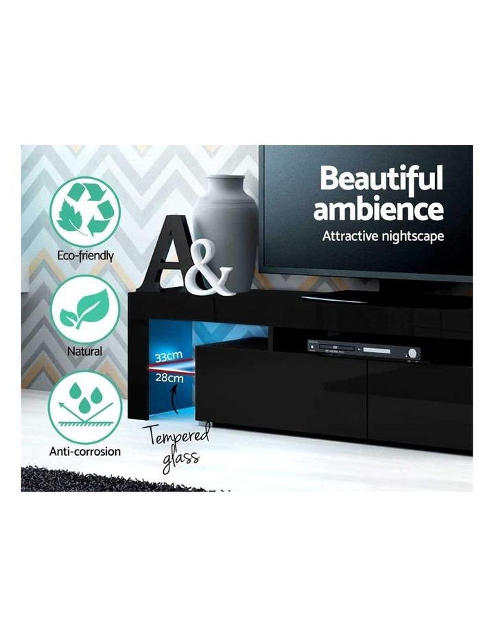 189cm RGB LED TV Stand Cabinet Entertainment Unit Gloss Furniture Drawers Tempered Glass Shelf Black image 5