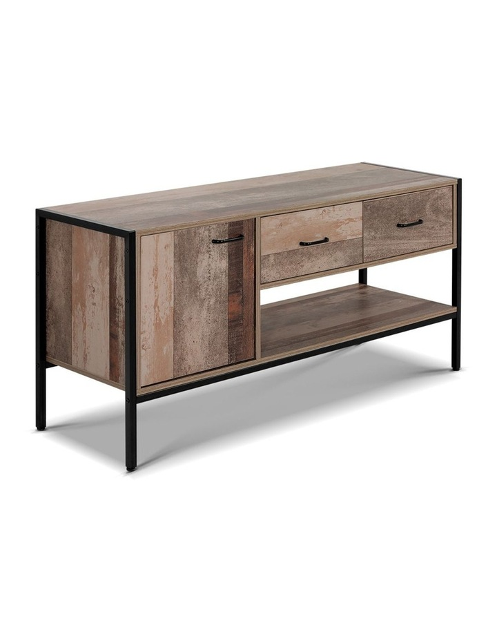 TV Stand Entertainment Unit Cabinet Storage Metal Wooden Industrial Rustic 120cm image 1