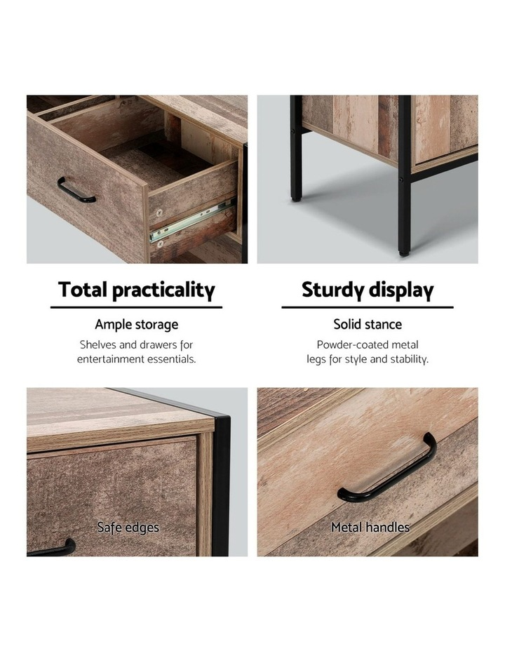 TV Stand Entertainment Unit Cabinet Storage Metal Wooden Industrial Rustic 120cm image 4